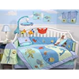SoHo Dolphins Baby Crib Nursery Bedding Set 13 pcs included Diaper Bag with Changing Pad & Bottle Case