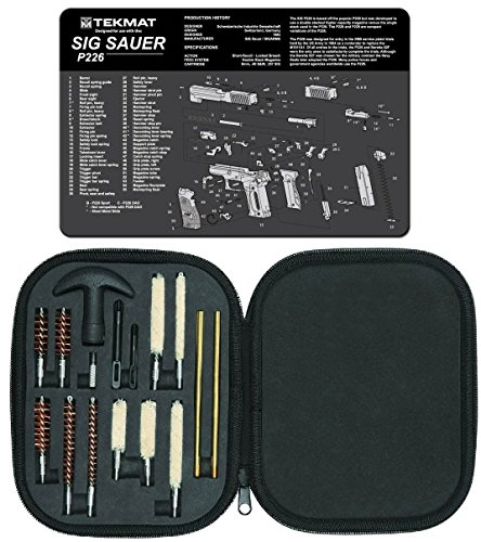 Ultimate Arms Gear Gunsmith & Armorer's Cleaning Work Bench Gun Mat SIG Sauer SIG P226 + Professional Tactical Cleaning Tube Chamber Barrel Care Supplies Kit Deluxe 17 pc Handgun Pistol Cleaning Kit in Compact Molded Field Carry Case for .22 / .357 / .38 / 9mm / .44 / .45 Caliber Brushes, Swab, Slotted Tips and Patches