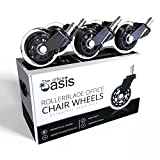 Office Chair Caster Wheels Replacement (Set of 5) - Heavy Duty & Safe for All Floors Including Hardwood - Smooth Rolling, Rollerblade Style with Universal Fit