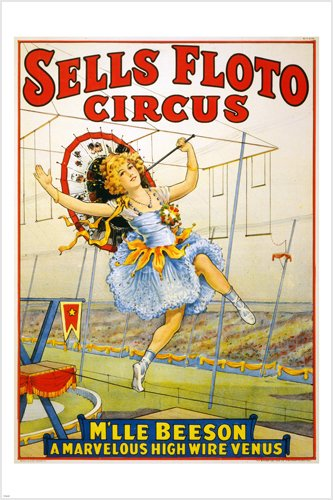 SELLS FLOTO vintage circus ad poster 24X36 GREAT FOR HOME DECOR! 0