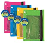 BAZIC Bright Color 3-Ring Pencil Pouch w/ Mesh Window, Case Pack 24