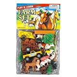 DELUXE FARM ANIMALS AND FARM VEHICLE TOY PLAYSET -Horses, Cows, Wagons, Sheep, & Pigs ~ Barnyard Fun