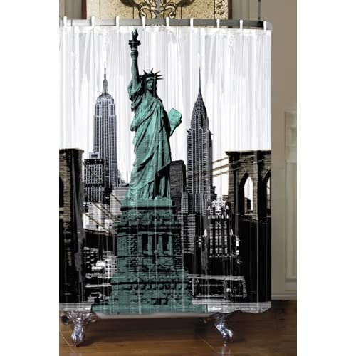 Black and white shower curtains new york city and statue for Curtains and drapes nyc