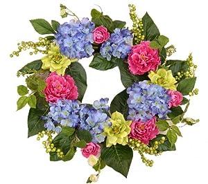 Vibrant fall berry wreath blue silk wreath for Colorful summer wreaths