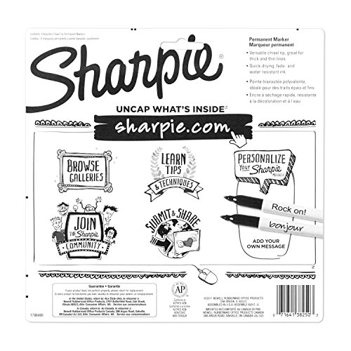 sharpie permanent markers  chisel tip  classic colors  8