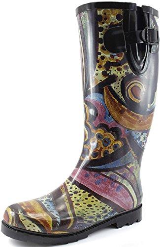 Women's Puddles Rain and Snow Boot Multi Color Mid Calf Knee High Rainboots,Monet 12 B(M) US
