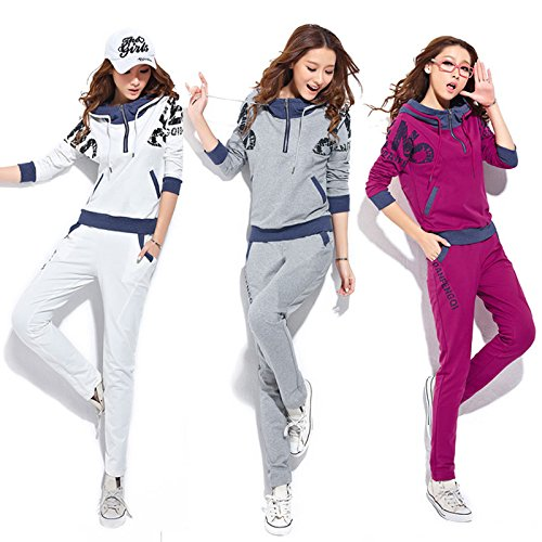 FUNOC Ladies Women Fleece Tracksuit Hoodie Jumper Jacket Pants Hoodies