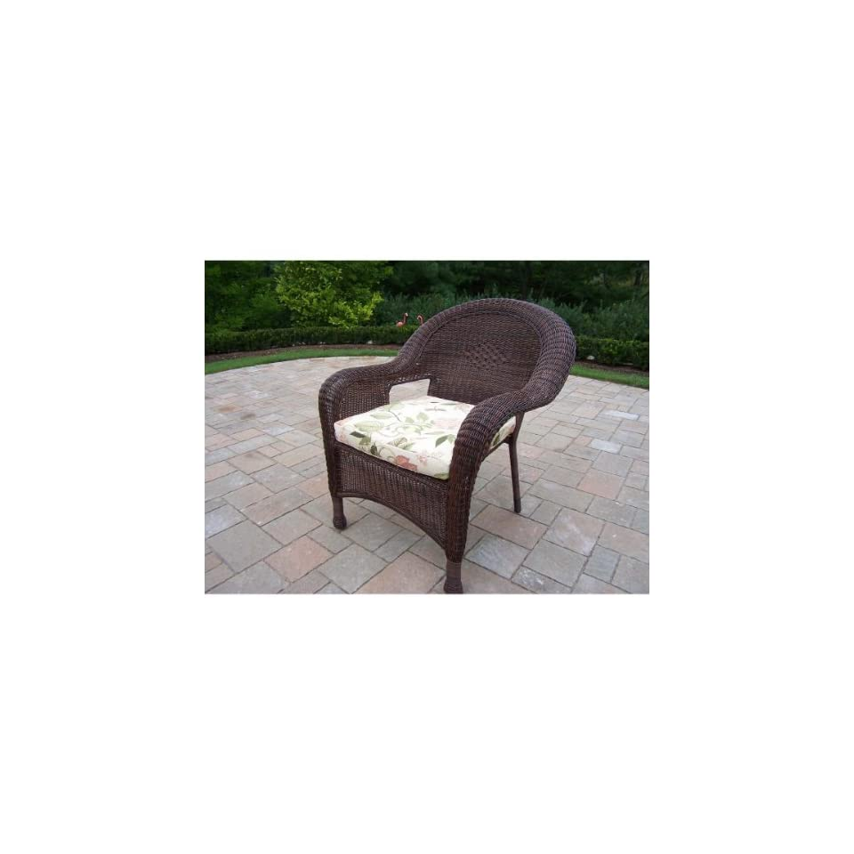Resin Deep Seating Chair with Cushion Finish Coffee, Fabric Floral