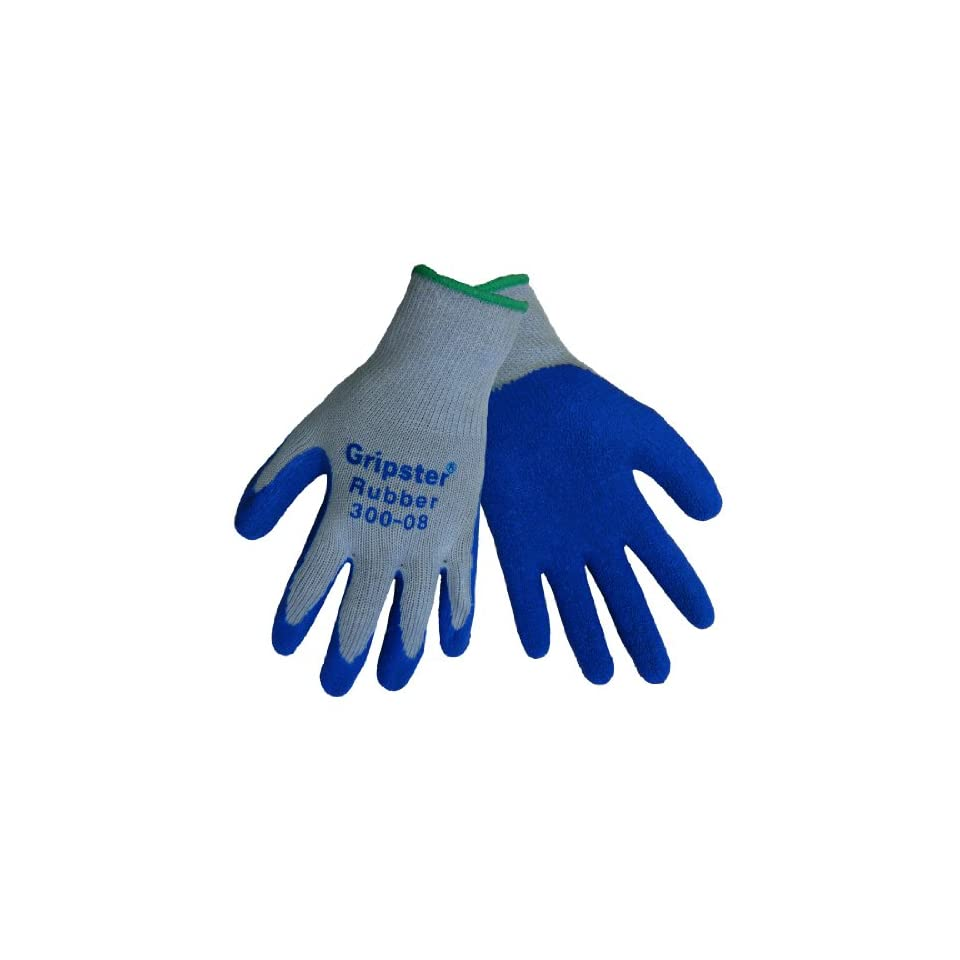 Global Glove 300 Gripster Rubber Dip Glove with Knitwrist and Poly/Cotton Liner, Work, Extra Large, Gray/Blue (Case of 72)