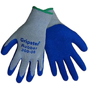 Global Glove 300 Gripster Rubber Dip Glove with Knitwrist and Poly/Cotton Liner, Work, 2X-Large, Gray/Blue (Case of 72)
