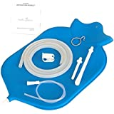 The Right Enema Bag - Large (4 Quart) for Deep Enemas | Open Fountain Top for Easy Cleaning & Hygiene - No Leaky Adapters or Bottle Converters; Hangs Upright - Blue
