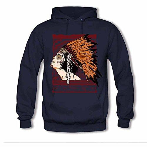 Women's Ethnic Style Native American Indian chief Hooded Sweatshirt Cotton Hoodies S