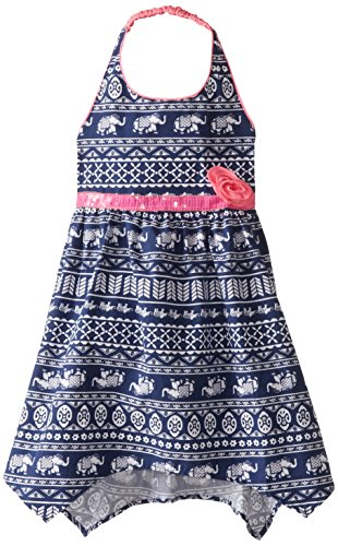 Pogo Club Little Girls' Elephant Print Halter Dress, Neon Pink, Medium