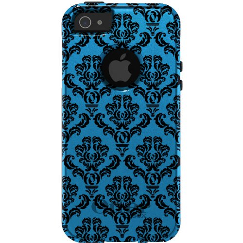 Great Sale CUSTOM OtterBox Commuter Series Case for iPhone 5 5S - Damask Pattern (Blue & Black)