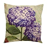 """Embrace Cotton Linen Square Decorative Throw Pillow Case Cushion Cover Retro Elegant Violet Flowers 18"""""""