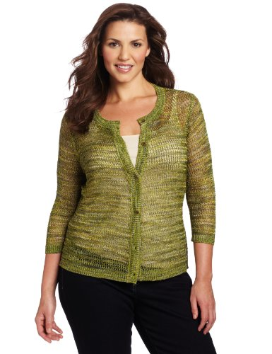 Jones New York Women's 3/4 Sleeve Cardigan, Multi, 3X
