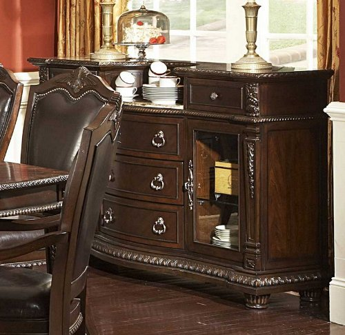 Cheap Sideboard Server with Inset Marble Top in Rich Brown (VF_HE1394-40)