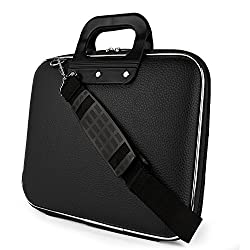 Storia Cady Collection Durable Briefcase Carrying Case with Removable Shoulder Strap for 15.6 in Laptops / Notebooks (Black)