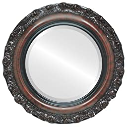OvalAndRoundMirrors.com Round Beveled Mirror in a Venice style Vintage Cherry frame with 29x29 outside dimensions