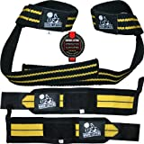 Wrist Wraps + Lifting Straps Bundle (2 Pairs) for Weightlifting, Crossfit, Workout, Gym, Powerlifting, Bodybuilding - Better Than Chalk & Leather - Support For Women & Men - Premium Quality Equipment & Accessories - Use Gloves, Hooks, Wrap & Strap to Avoid Injury During Weight Lifting - (Black/Yellow) - 1 Year Warranty!