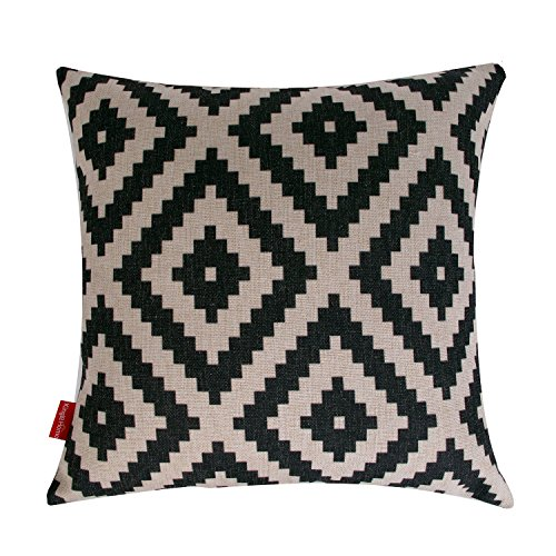 Kingla Home Decorative Throw Pillow Covers 18 X 18 Inch Cotton Linen Square Pillow Cases Black and White Series Geometry Couch Cushion Covers