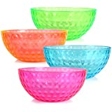 ChefLand Round Plastic Serving Bowls, Party Snack or Salad Bowl, 96-Ounce, 4 Colors, Set of 4