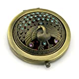 Bronze Colored Double Optical Compact Cosmetic Mirror 2 Optical Quality Glass Mirrors For Purse Or Handbag Shining Faux Diamond Peacock Engraving