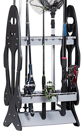 Wealers 16 rod rolling rack fishing rod holder organizer for Best all around fishing rod