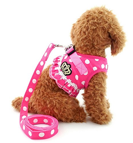 SELMAI Small Dog Harness Pink Leash Set Ladies Polka Dot Vest Mesh Padded Lead for Pet Cat Puppy Girls M (Girl Dog Harness compare prices)