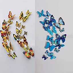 24 Pcs 3D Butterfly Wall Stickers Art Decor Decals(12pcs Blue + 12pcs Yellow)