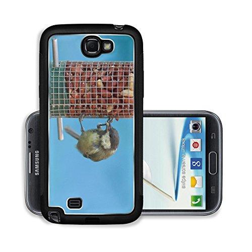 Liili Premium Samsung Galaxy Note 2 Aluminum Case Great tit eating peanuts on a bird feeder blue background Image ID 22006007