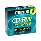 Maxell® - CD-RW Discs, 700MB/80min, 12x, w/Jewel Cases, Gold, 5/Pack - Sold As 1 Pack - High-speed, rewritable.