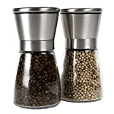 HOSL 2 Pack Brushed Stainless Steel Salt Mill and Pepper Grinder Set With Glass Bottle
