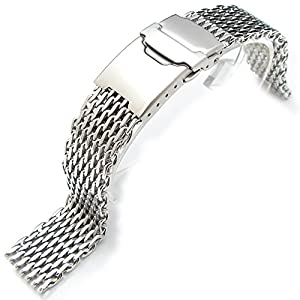 18mm Ploprof 316 Reform Stainless Steel Mesh Watch Band, Polished, AB version