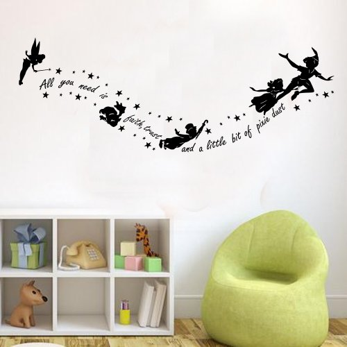 Peter Pan All You Need Is Pixy Dust Childrens Wall Sticker Mural Kids Bedroom (Black)