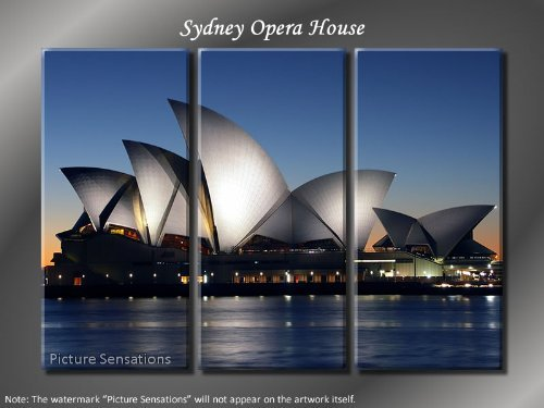 Framed Huge 3 Panel Modern Australia Sydney Opera House Giclee Canvas Print