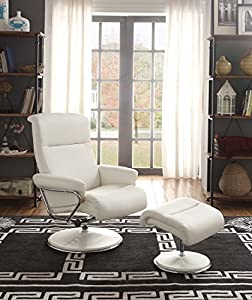 Homelegance 8550WHT-1 Swivel Reclining Chair with Ottoman, White Bonded Leather Match