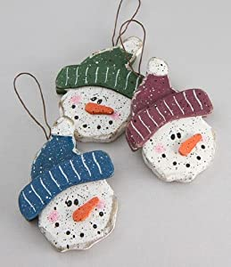 Package of 12- Wooden Primitive Look Snowman Heads on Hanger