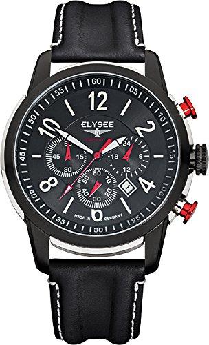 Elysee 80524L - Reloj cronógrafo de cuarzo para hombre, correa de cuero color negro