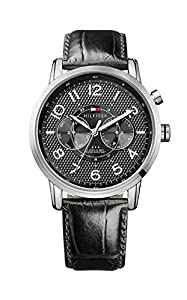 Tommy Hilfiger Calan Men's Quartz Watch with Black Dial Analogue Display and Black Leather Strap 1791083