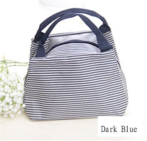 Kuforu Striped waterproof lunch bag shopping bag Cosmetic Bags holding room pouch Bags - Dark Blue - 1