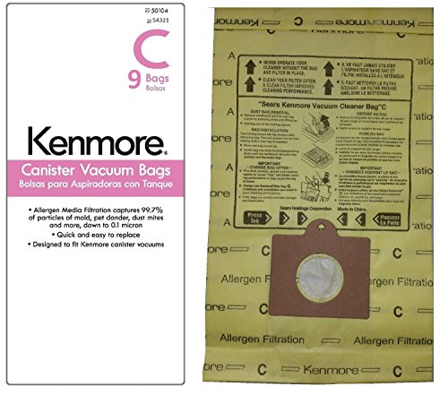 9 Kenmore Style C & Style Q Allergen Filtration Canister Vacuum Bags, 54321. Also Fits Panasonic C-5, C-18. (Kenmore Whispertone Vacuum Bags compare prices)