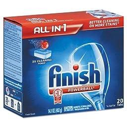 RECKITT BENCKISER PROFESSIONAL Powerball Dishwasher Tabs, Fresh Scent, 20/Box (77050CT)