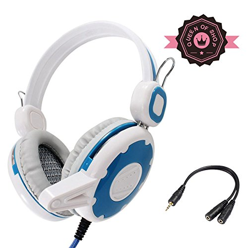 T7Jbs White + Blue For Xbox 360 Dj Quality Over Head Stereo Handsfree Headset Earbuds Earphones Headphones With Mic For Pc Cell Phone W/ Anti-Tangle Flat Wire And With Volume Control
