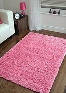 """Shaggy Rug Pink 963 Plain 5cm Thick Soft Pile 60cm x 220cm (2ft x 7ft 3"""") Modern 100% Berclon Twist Fibre Non-Shed Polyproylene Heat Set - AVAILABLE IN 6 SIZES by Quality Linen and Towels from Quality Linen and Towels"""