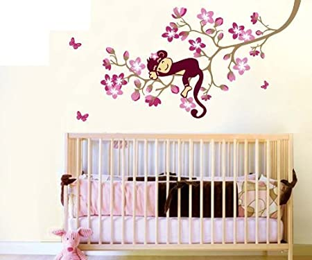 Monkey Hanging Over Tree Kids/nursery - Easy Wall Decor Sticker Wall Decal by SMS TOY (English Manual)