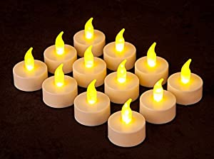 Lily's Home 12 Battery Operated LED Tealight Candles Flameless Heatless Faux Wedding Holiday Christmas Thanksgiving Party Light Dozen