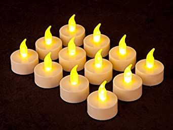 12 Battery Operated AMBER LED Tealight Candles Flameless Heatless No Heat Candle Flickering Wickless