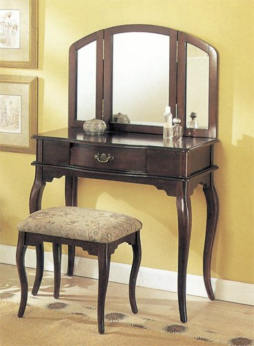 Queen Anne Style Vanity - Espresso Finish (Table, Bench & Mirror)