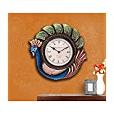 Collectible India - 1.1 Feet Large Wall Clock Large Decorative Peacock Wooden Handmade & Painted